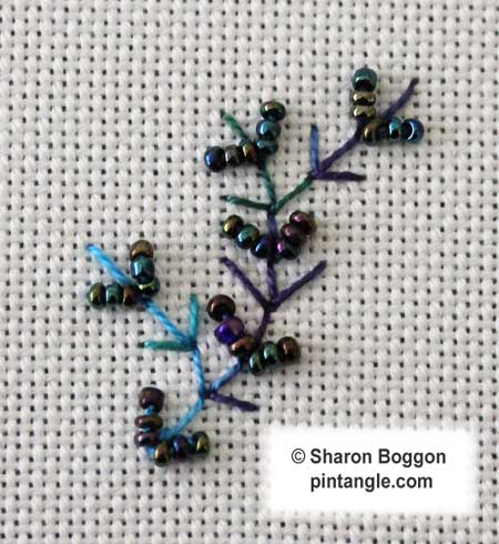 TAST stitch 42 beaded fern stitch sample