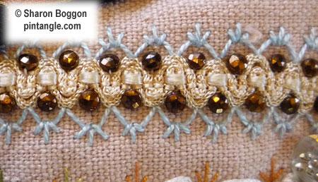 Crazy quilt detail of braid on block
