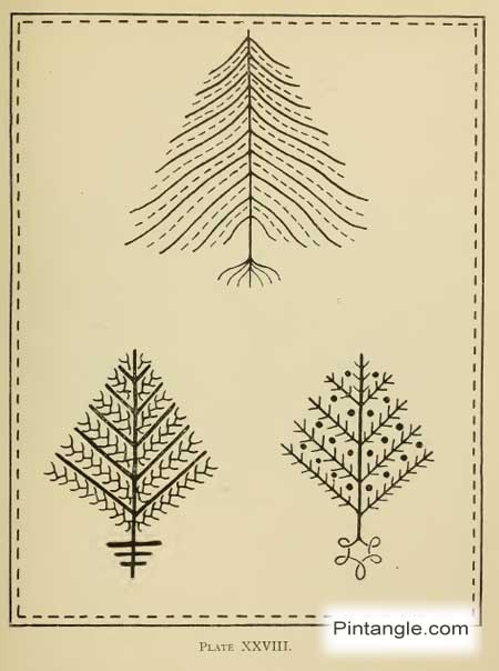 free hand embroidery pattern of trees