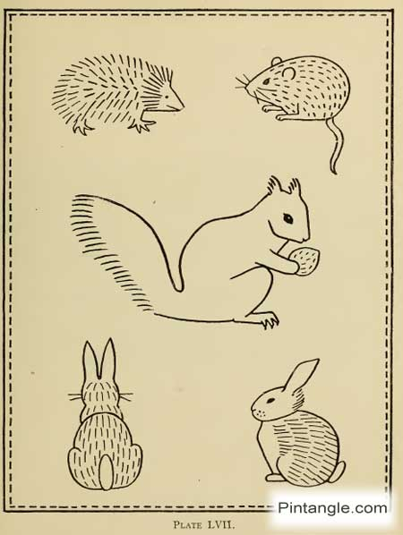 hand embroidery pattern of rabbit mouse squirrel and hedgehog