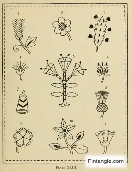 hand embroidery pattern of flowers