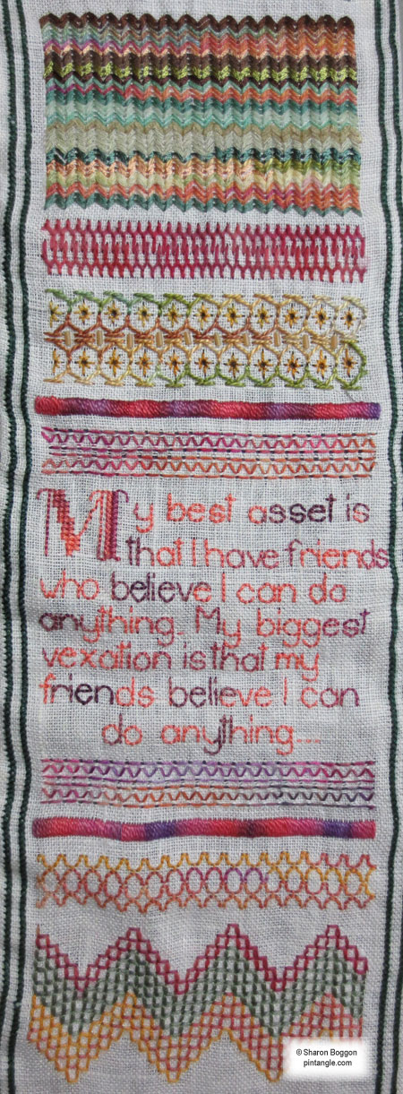 Needlework sampler section 51 b