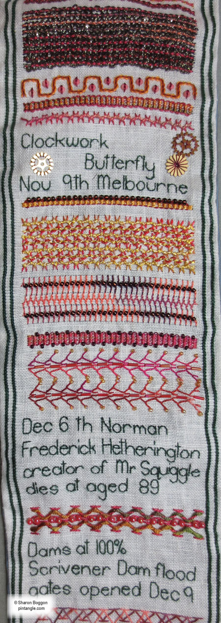 Needlework sampler section 51 f