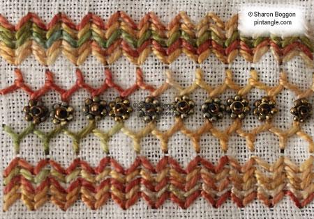 sampler band 706 Herringbone Cretan + Arrow stitch