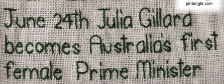 hand embroidered sampler band