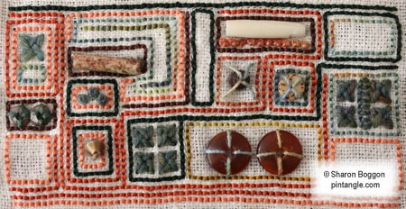hand embroidery sampler detail 721