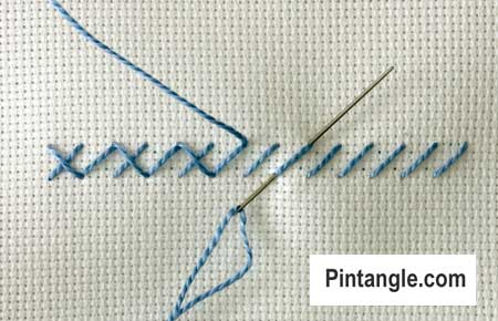 step by step instructions on how work Alternating Cross stitch 3