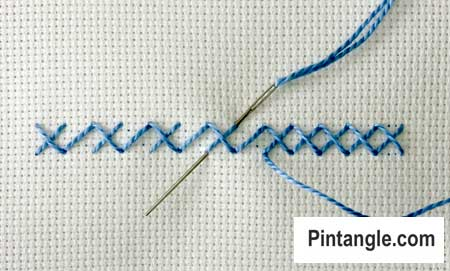 step by step instructions on how work Alternating Cross stitch 4