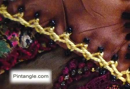 hand embroidery on crazy quilt seam 558