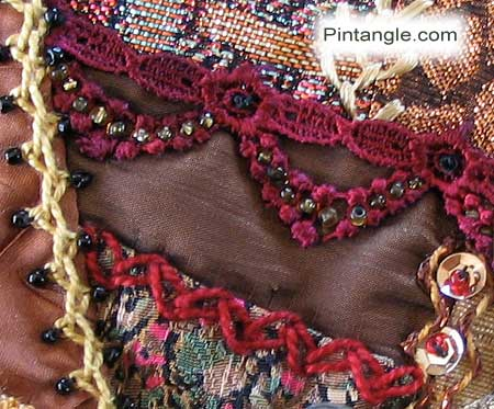 hand embroidery on crazy quilt seam 560