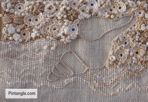 Back stitch sample on contemporary hand embroidery