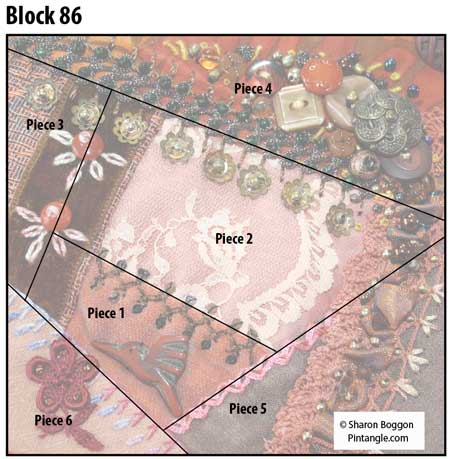Crazy quilt block 86 diagram