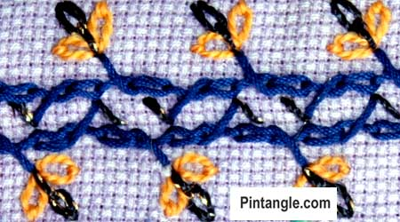 Alternating Barred chain stitch sample 2