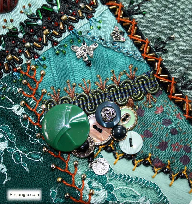 Crazy Quilt Block 87 free pattern and Embellishing details