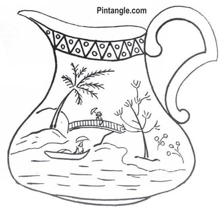 Free hand embroidery pattern of a milk jug