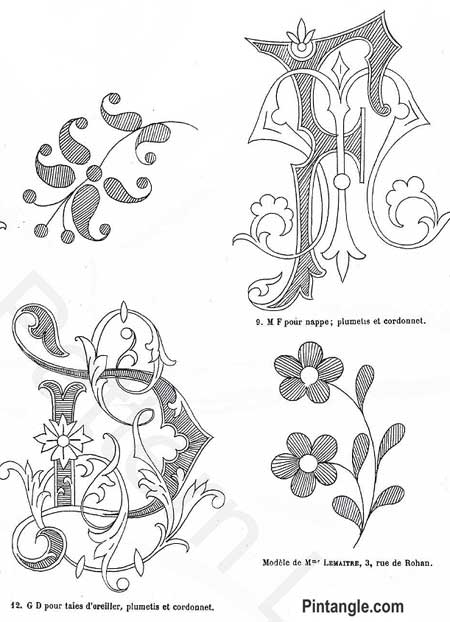 Free hand embroidery pattern of small floral sprays