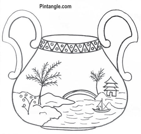 Free hand embroidery pattern of a sugar basin