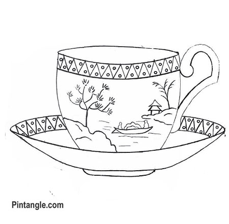 Free hand embroidery pattern of a teacup
