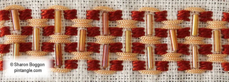 hand embroidery band sampler detail 742