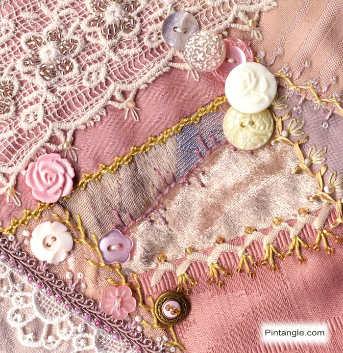 Crazy quilt block 88 Pattern and embroidered seams details