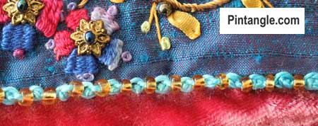 Beaded Oyster stitch sample
