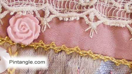 Crazy quilt hand embroidery detail