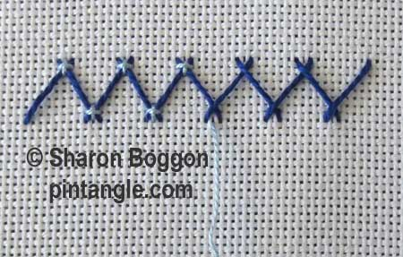 Step by Step tutorial for Fancy Herringbone Stitch