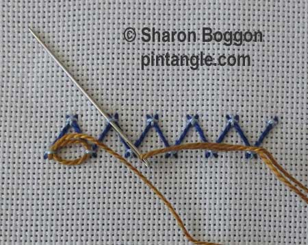Step by step fancy herringbone stitch 5