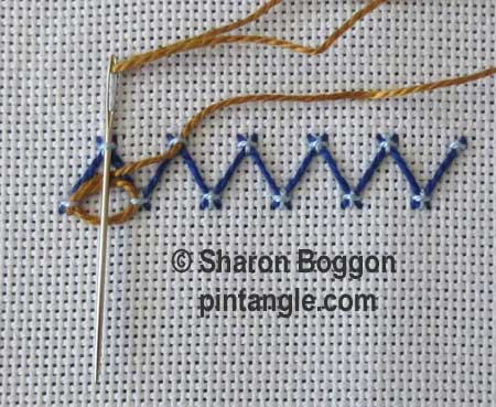Step by step fancy herringbone stitch 6