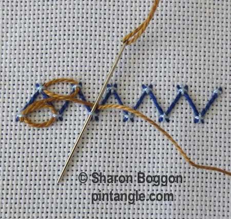 Step by step fancy herringbone stitch 7