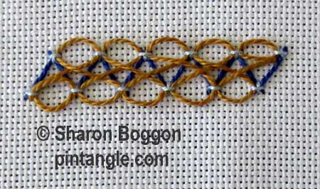 Step by step fancy herringbone stitch 8