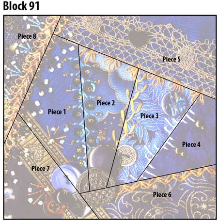 Crazy quilt block 91 diagram