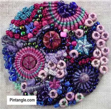 Whipped Spoke Stitch in contemporary embroidery Stitch 79 in TAST