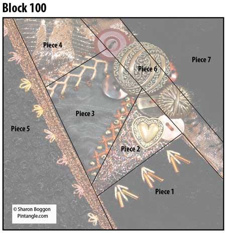 Crazy Quilt Block 100 diagram