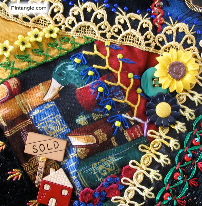 Crazy Quilt Block 92 Pattern and Hand Embroidery Details