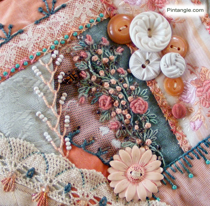 Crazy Quilt Block 93 Pattern and Hand Embroidery Details