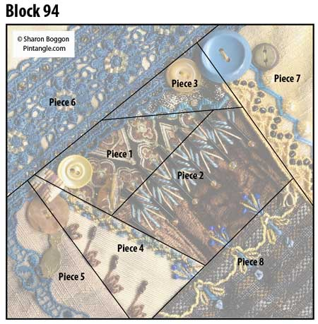 Crazy Quilt Block 94 diagram
