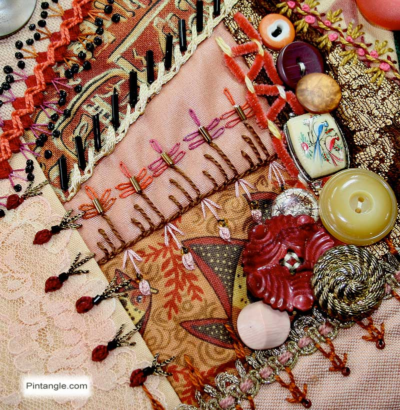 Crazy Quilt Block 95 Pattern and Hand Embroidery Details