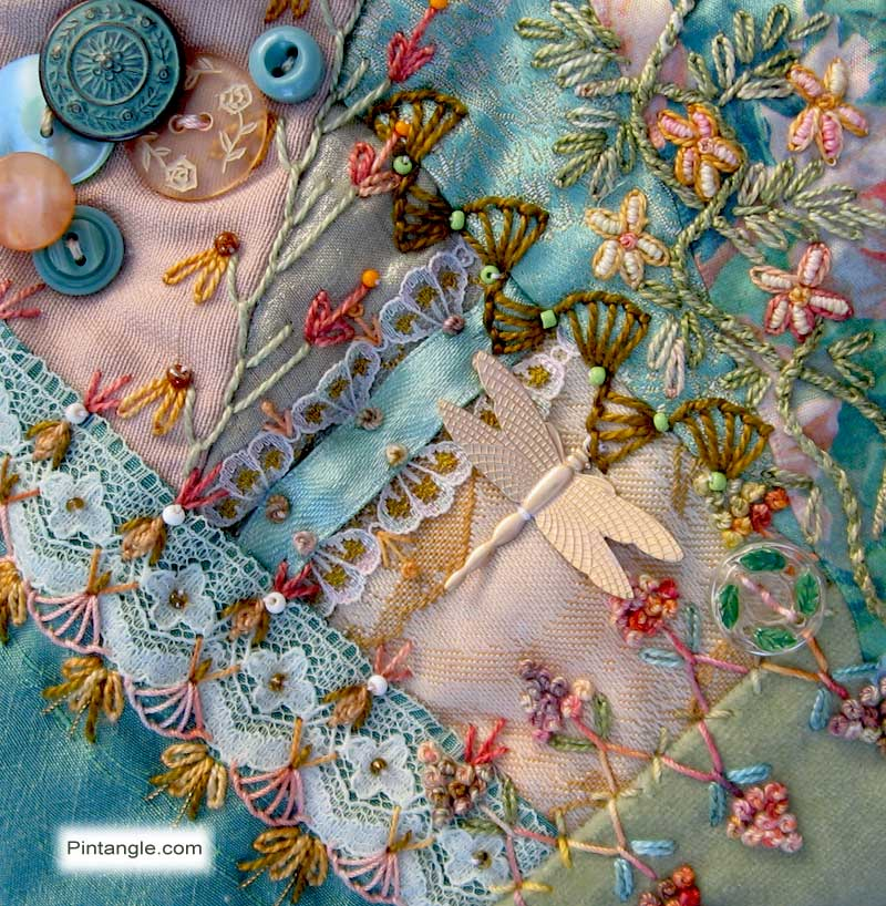 Crazy Quilt Block 99 Pattern and Hand Embroidery Details
