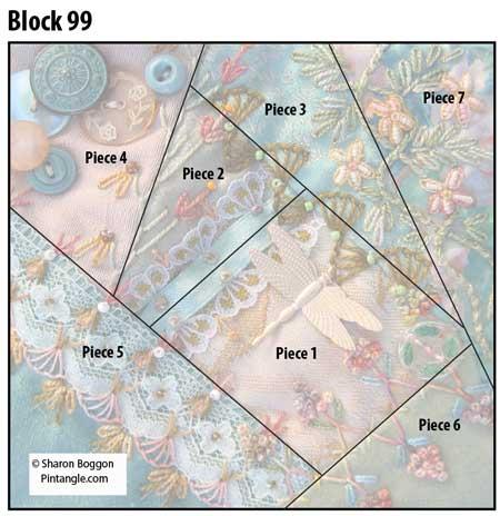 Crazy Quilt Block 99 diagram