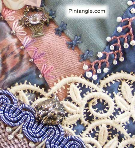 Crazy Quilt Block 97 Pattern And Hand Embroidery Details
