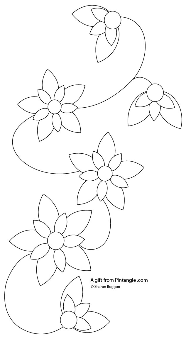 Free Hand Embroidery Pattern for a Floral Border