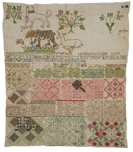 Jane Bostock sampler at the V&A