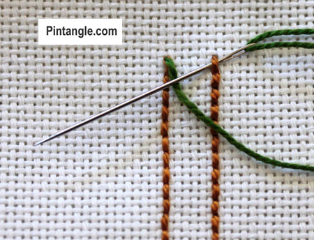 tutorial on how to work Raised Cretan stitch 2