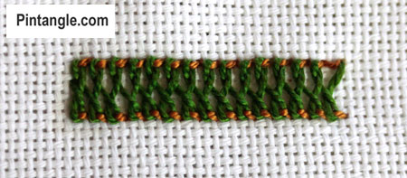 tutorial on how to work Raised Cretan stitch step 4