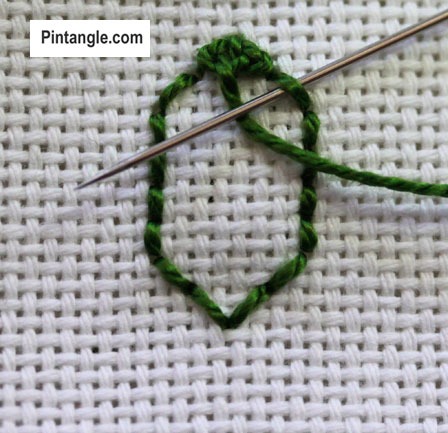 tutorial on how to work Raised Cretan stitch step 6