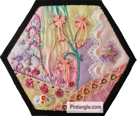 2020 crazy quilt block 3 by Sharon Boggon