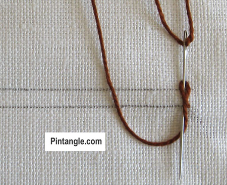 Braid Stitch tutorial step  2