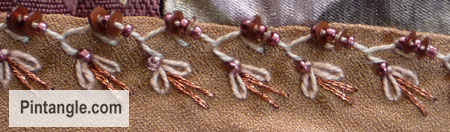 Beaded Alternating Feather stitch sample