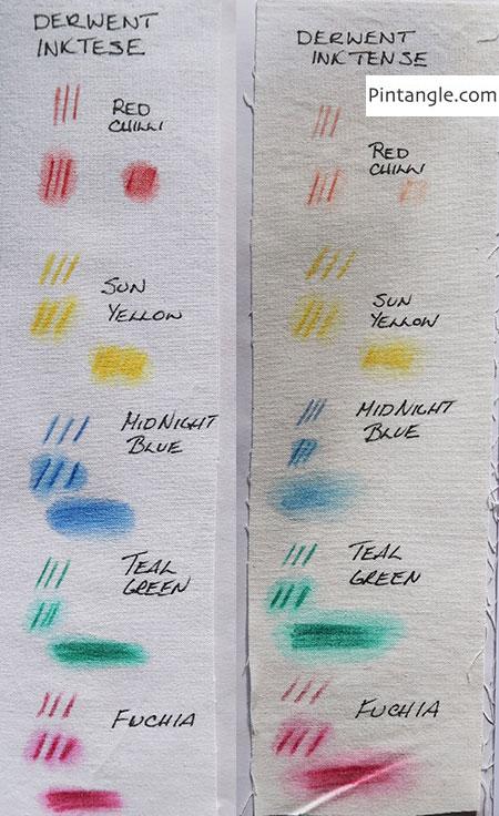 inktense pencils lightfast test done on cotton